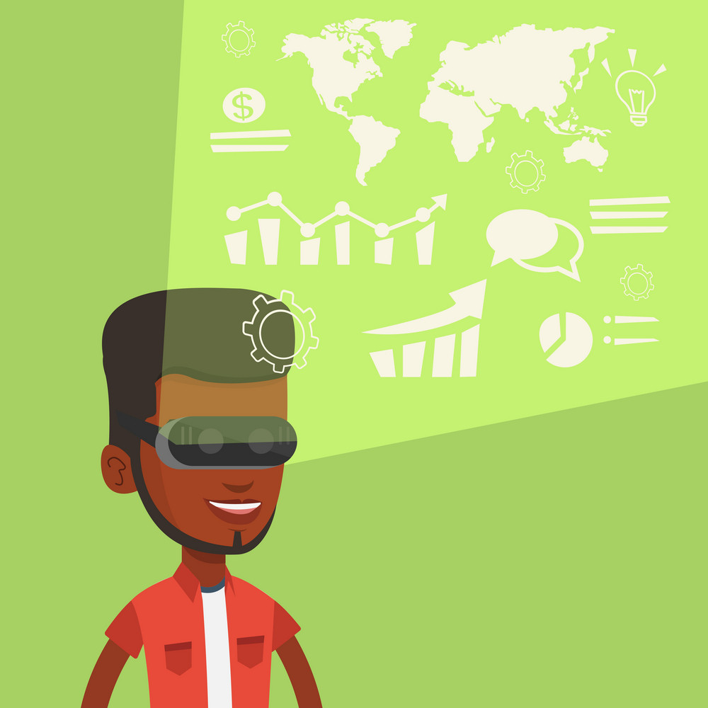 Business man in virtual reality headset looking at the digital display with business graphs. Man in virtual reality headset analyzing visual data. Vector flat design illustration. Square layout.