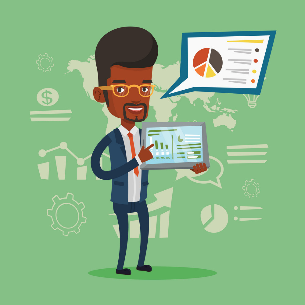 Business man pointing at the charts on tablet computer screen. Young business man presenting report on tablet computer on the background of graphs. Vector flat design illustration. Square layout.
