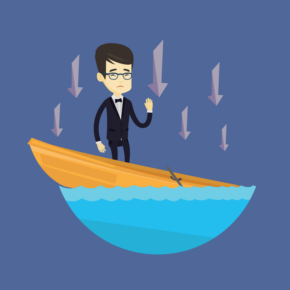 Business man standing in sinking boat and asking for help. Business man sinking and arrows behind him pointing down symbolizing business bankruptcy. Vector flat design illustration. Square layout.