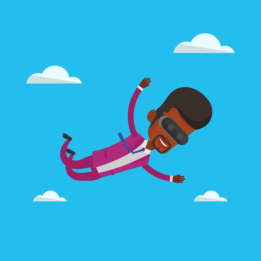 Business man wearing virtual reality headset and flying in the sky. Man in vr device having fun while playing videogame. Man flying in virtual reality. Vector flat design illustration. Square layout.