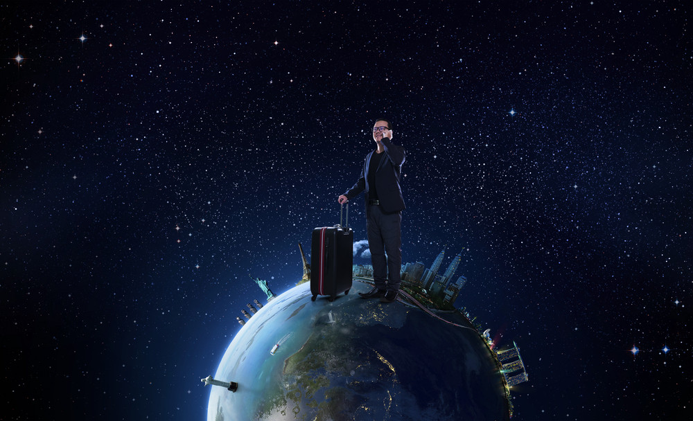 business men travel the world concept
