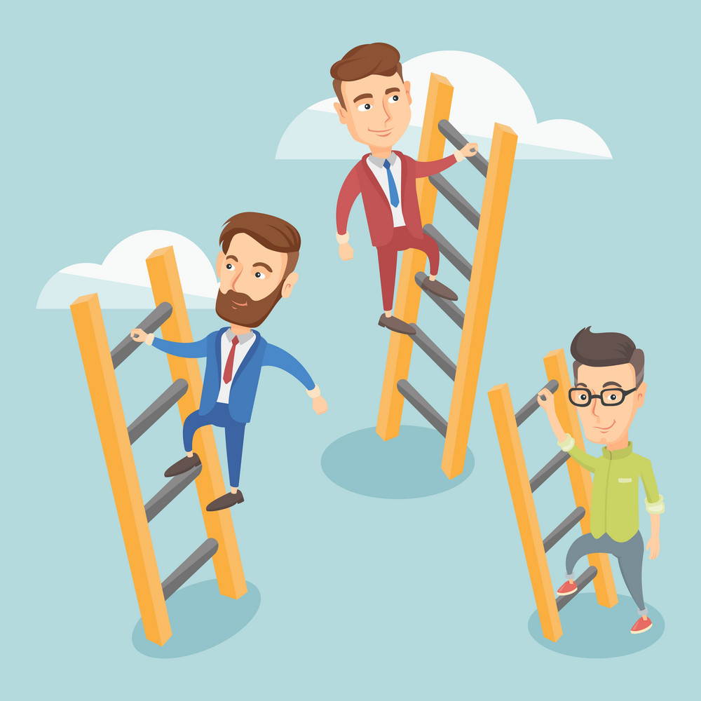 Business people climbing the ladders. Business men climbing on cloud. Business men climbing to success. Concept of success and competition in business. Vector flat design illustration. Square layout.