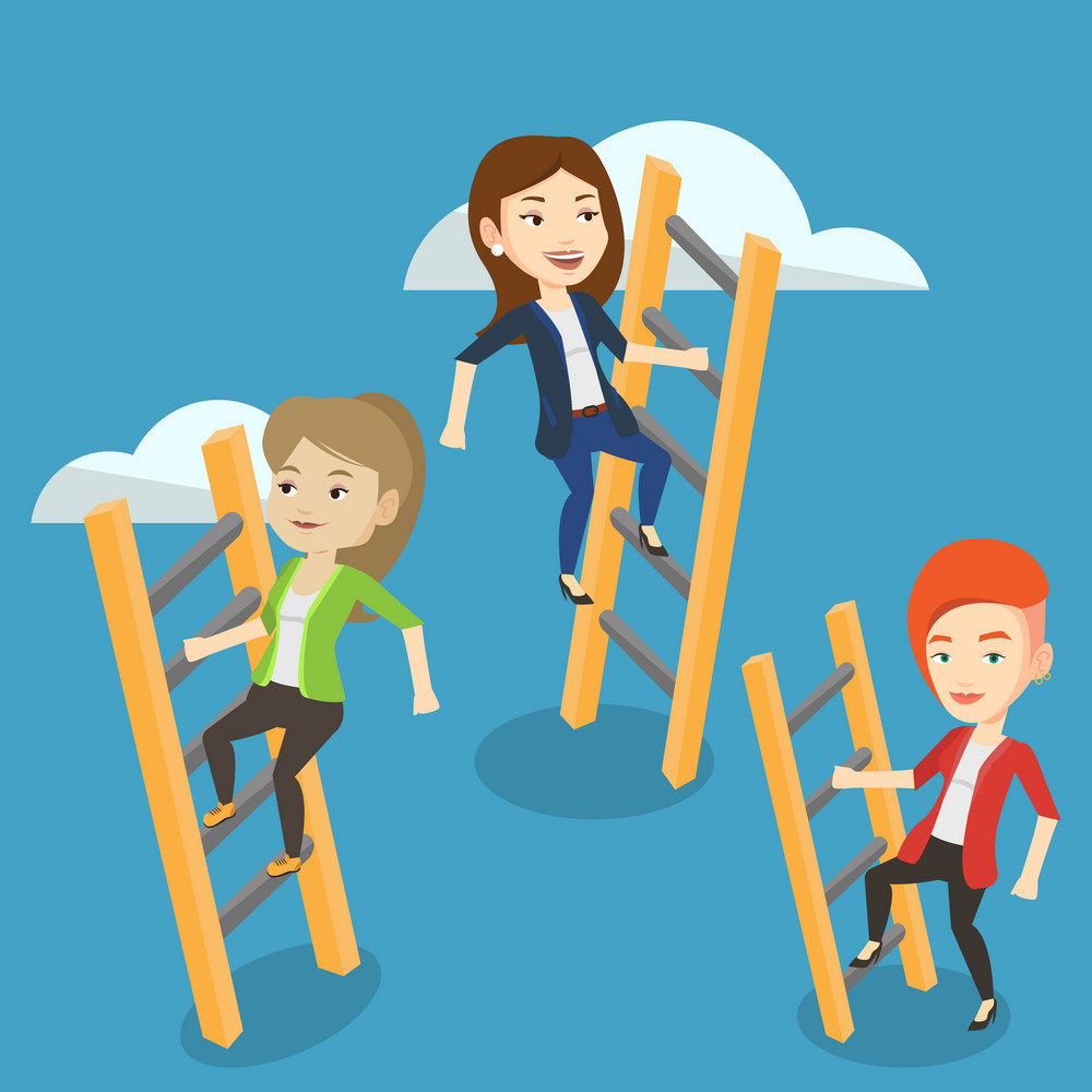 Business people climbing the ladders. Businesswomen climbing on cloud. Businesswomen climbing to success. Concept of success, competition in business. Vector flat design illustration. Square layout.