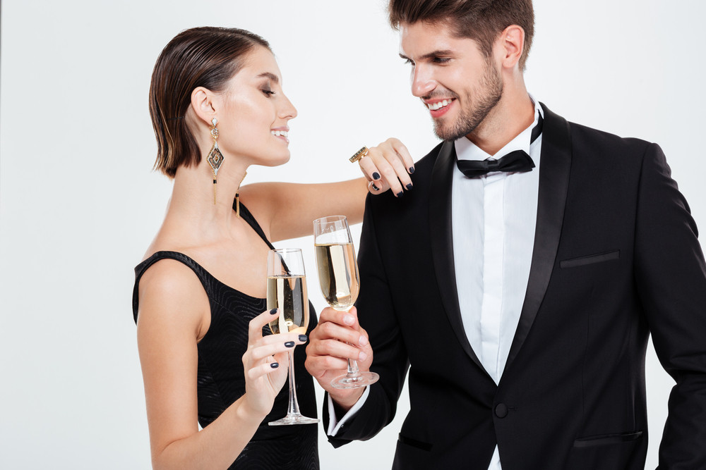 Business people with champagne