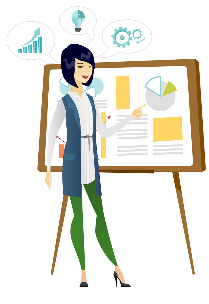 Business woman giving business presentation. Business woman pointing at charts on board during presentation. Business presentation concept. Vector flat design illustration isolated on white background