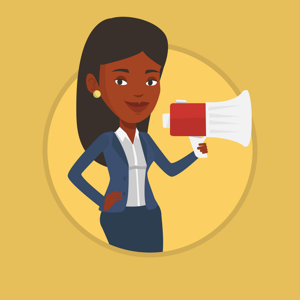 Business woman promoter holding a megaphone. Business woman promoter speaking into a megaphone. Social media marketing concept. Vector flat design illustration in the circle isolated on background.