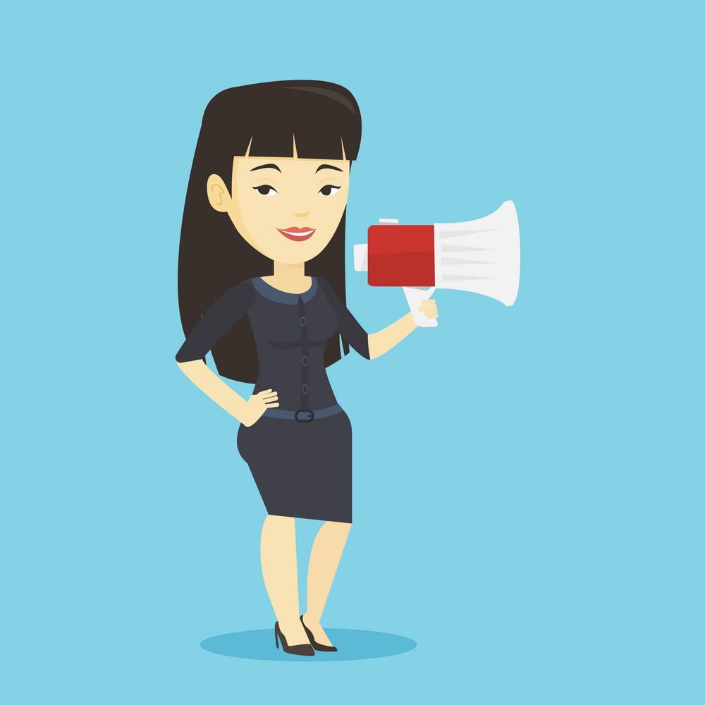 Business woman promoter holding megaphone. Business woman speaking into a megaphone. Woman advertising using megaphone. Social media marketing concept. Vector flat design illustration. Square layout.