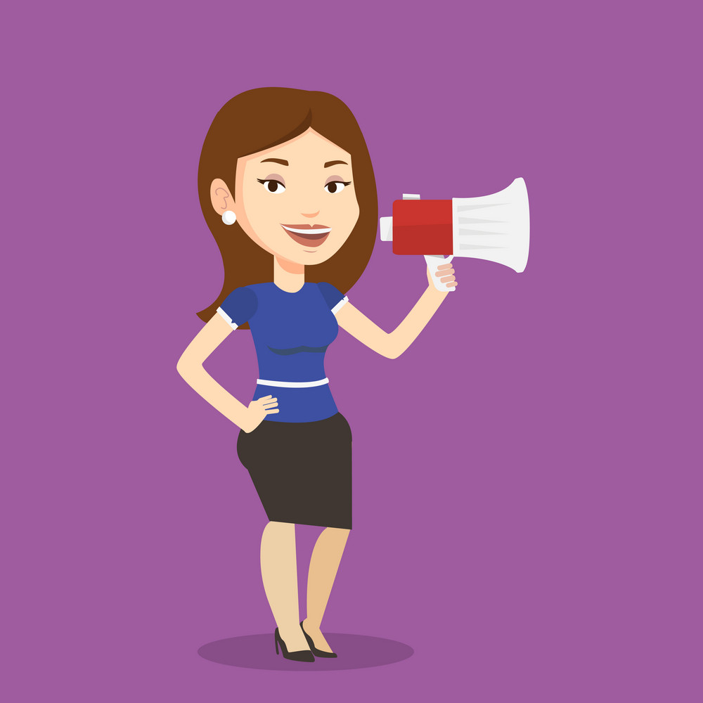 Business woman promoter holding megaphone. Social media marketing concept. Business woman speaking into a megaphone. Woman advertising using megaphone. Vector flat design illustration. Square layout.