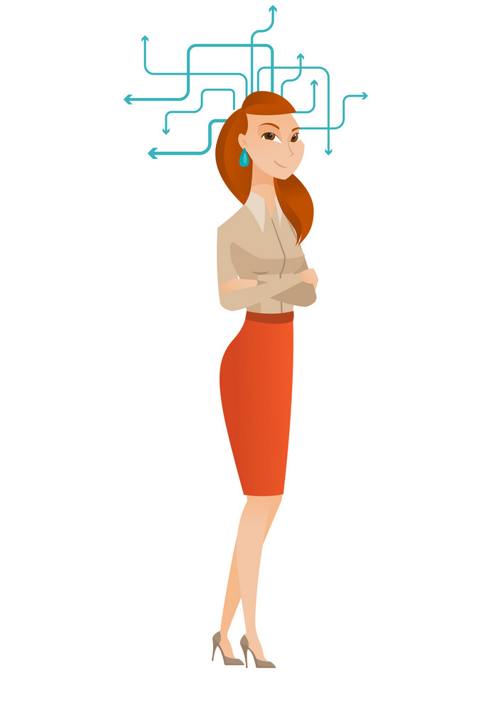Business woman standing with folded arms during process of business thinking. Young business woman thinking. Business thinking concept. Vector flat design illustration isolated on white background.