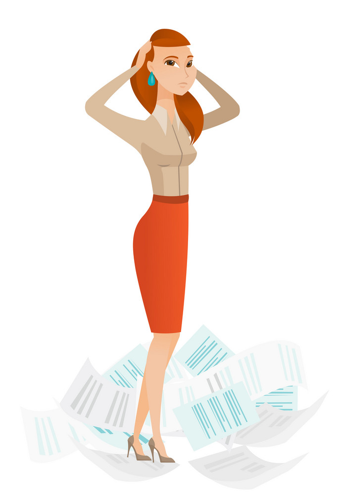 Business woman surrounded by lots of papers. Business woman having a lot of paperwork. Business woman standing in the heap of papers. Vector flat design illustration isolated on white background.