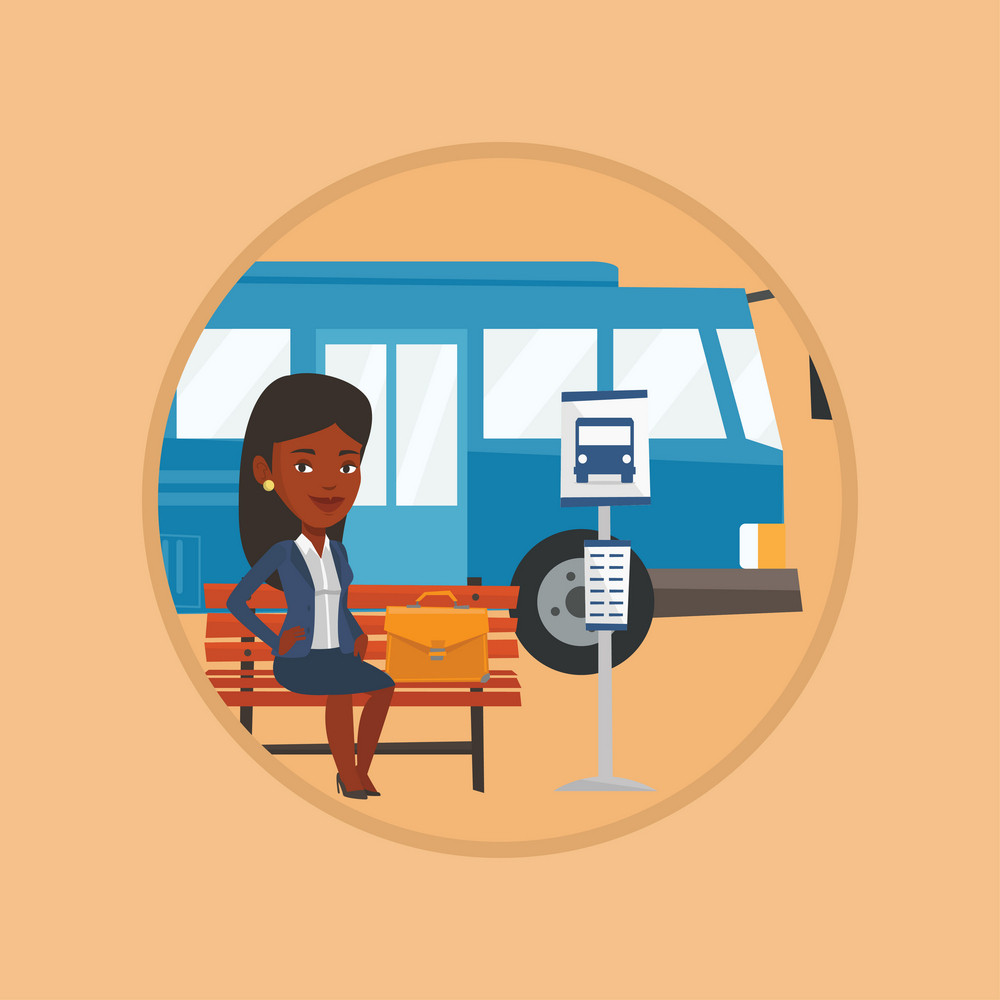 Business woman with briefcase waiting at the bus stop. Woman sitting at the bus stop. Businesswoman sitting on a bus stop bench. Vector flat design illustration in the circle isolated on background.