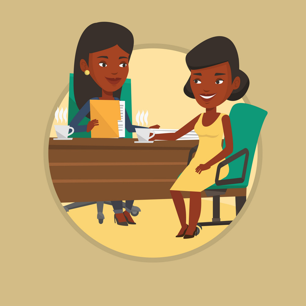 Business women talking on business meeting. Business women drinking coffee on meeting. Businesswomen during business meeting. Vector flat design illustration in the circle isolated on background.