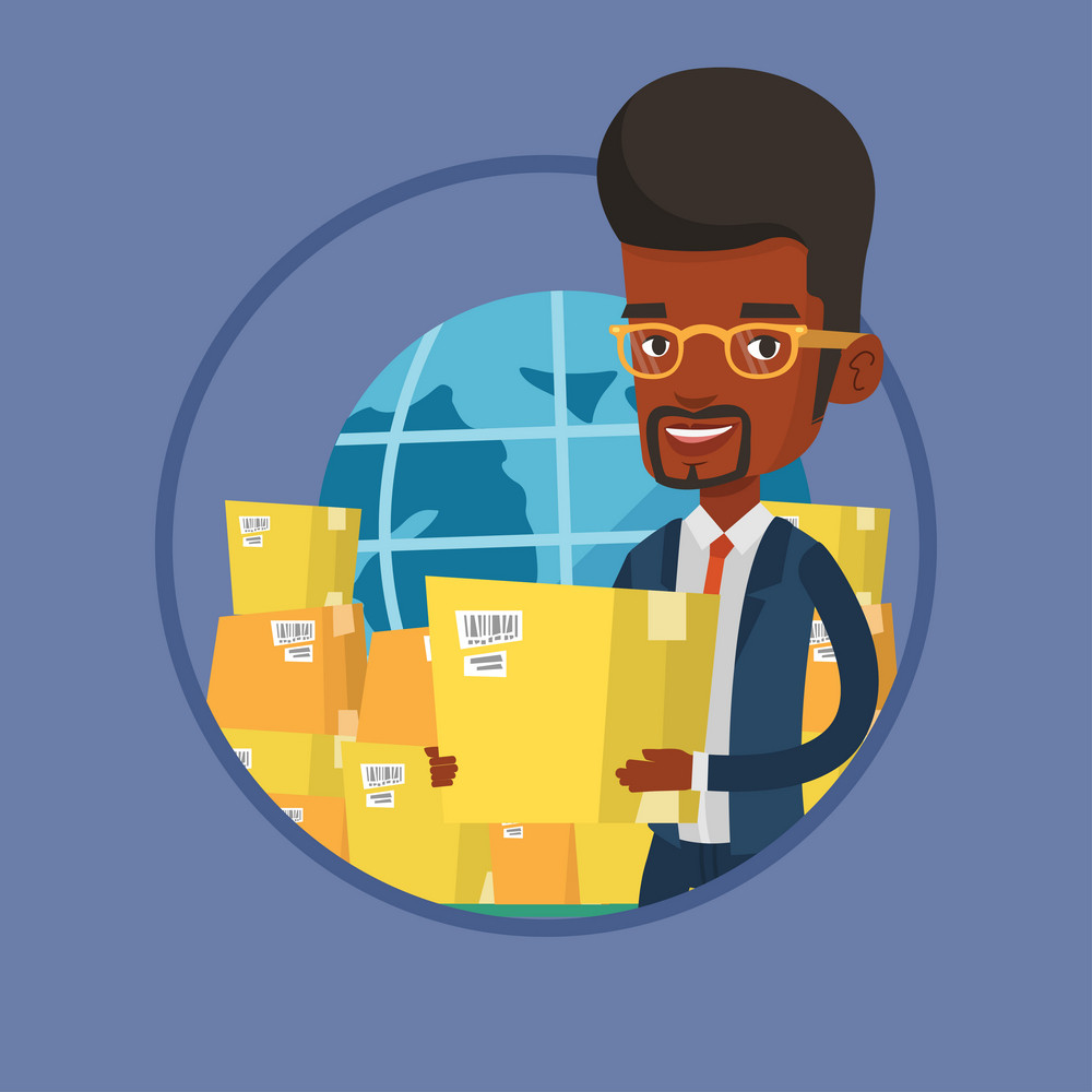 Business worker of international delivery service standing on background of world map and boxes. International delivery concept. Vector flat design illustration in the circle isolated on background.
