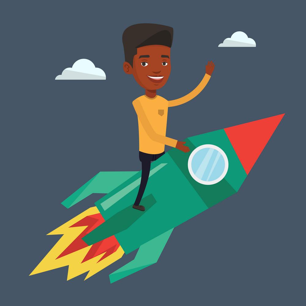 Businessman flying on the business start up rocket. An african-american businessman on business start up rocket waving. Business start up concept. Vector flat design illustration. Square layout.
