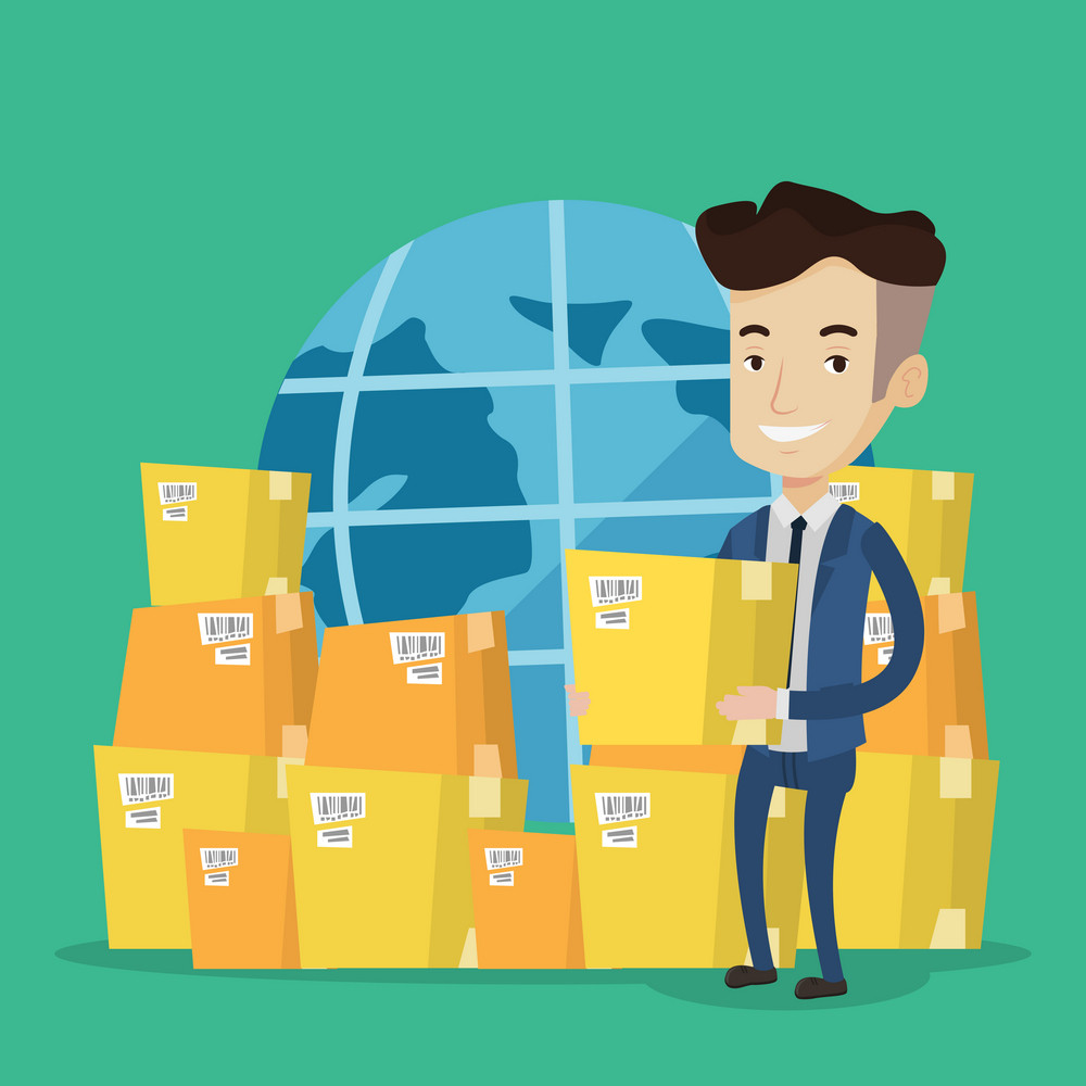 Businessman holding box on the background of world map and packages. Man working in international delivery service. Concept of international delivery. Vector flat design illustration. Square layout.