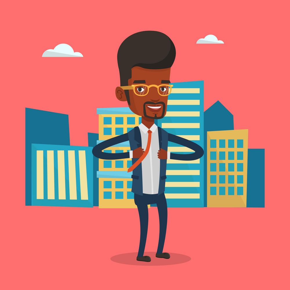 Businessman opening his jacket like superhero. An african businessman superhero. Businessman taking off his jacket like superhero on city background. Vector flat design illustration. Square layout.