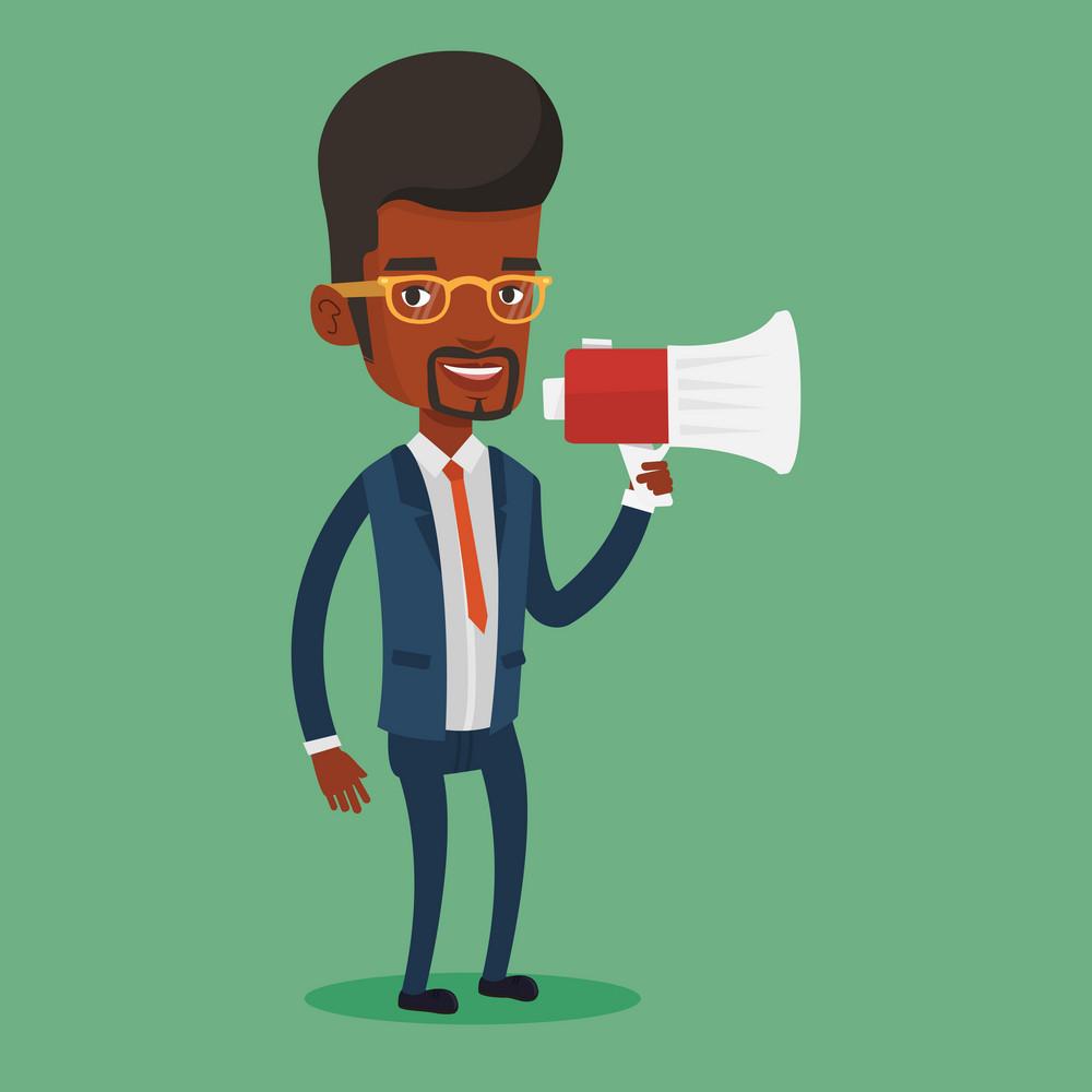 Businessman promoter holding megaphone. Business man speaking into a megaphone. Businessman advertising using megaphone. Social media marketing concept. Vector flat design illustration. Square layout.