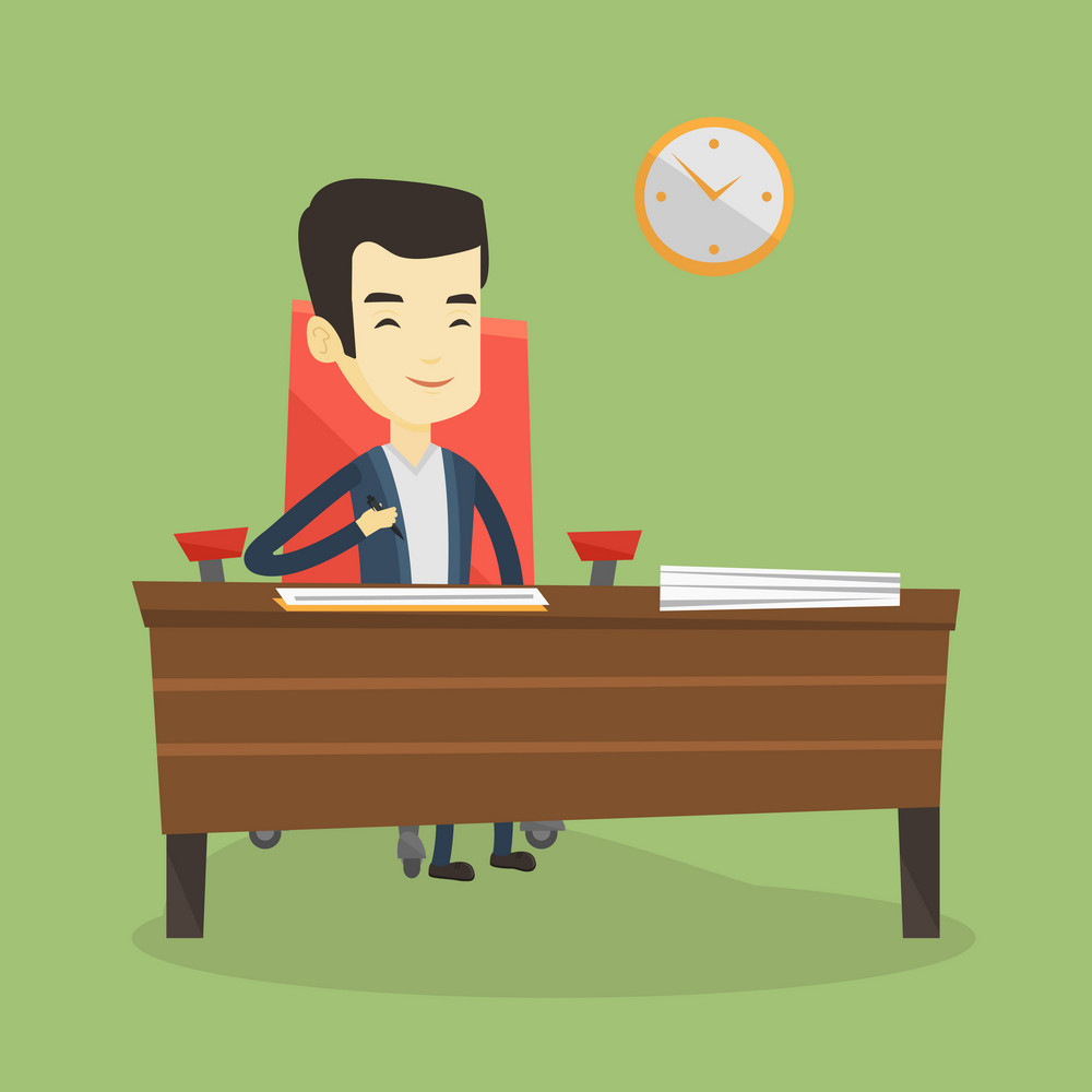 Businessman signing business documents in office. Man is about to sign a business agreement. Confirmation of transaction by signing of business contract. Vector flat design illustration. Square layout