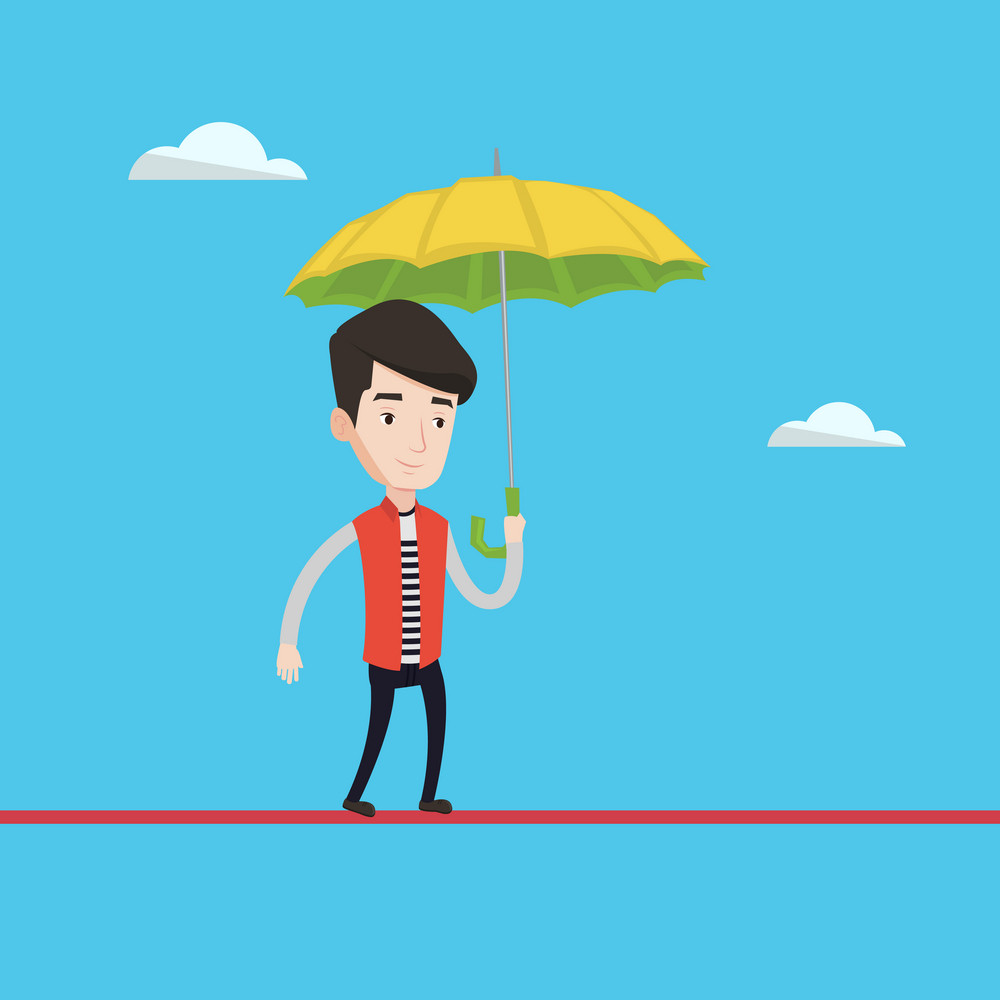 Businessman walking across a high rope with umbrella in hand. Young businessman balancing on a tightrope. Concept of risks and challenges in business. Vector flat design illustration. Square layout.