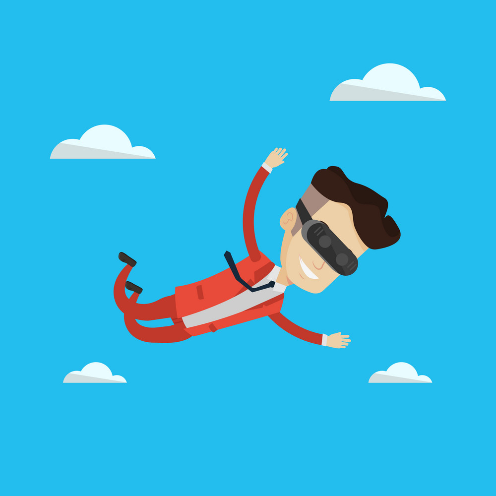Businessman wearing virtual reality headset and flying in the sky. Man in vr device having fun while playing videogame. Man flying in virtual reality. Vector flat design illustration. Square layout.