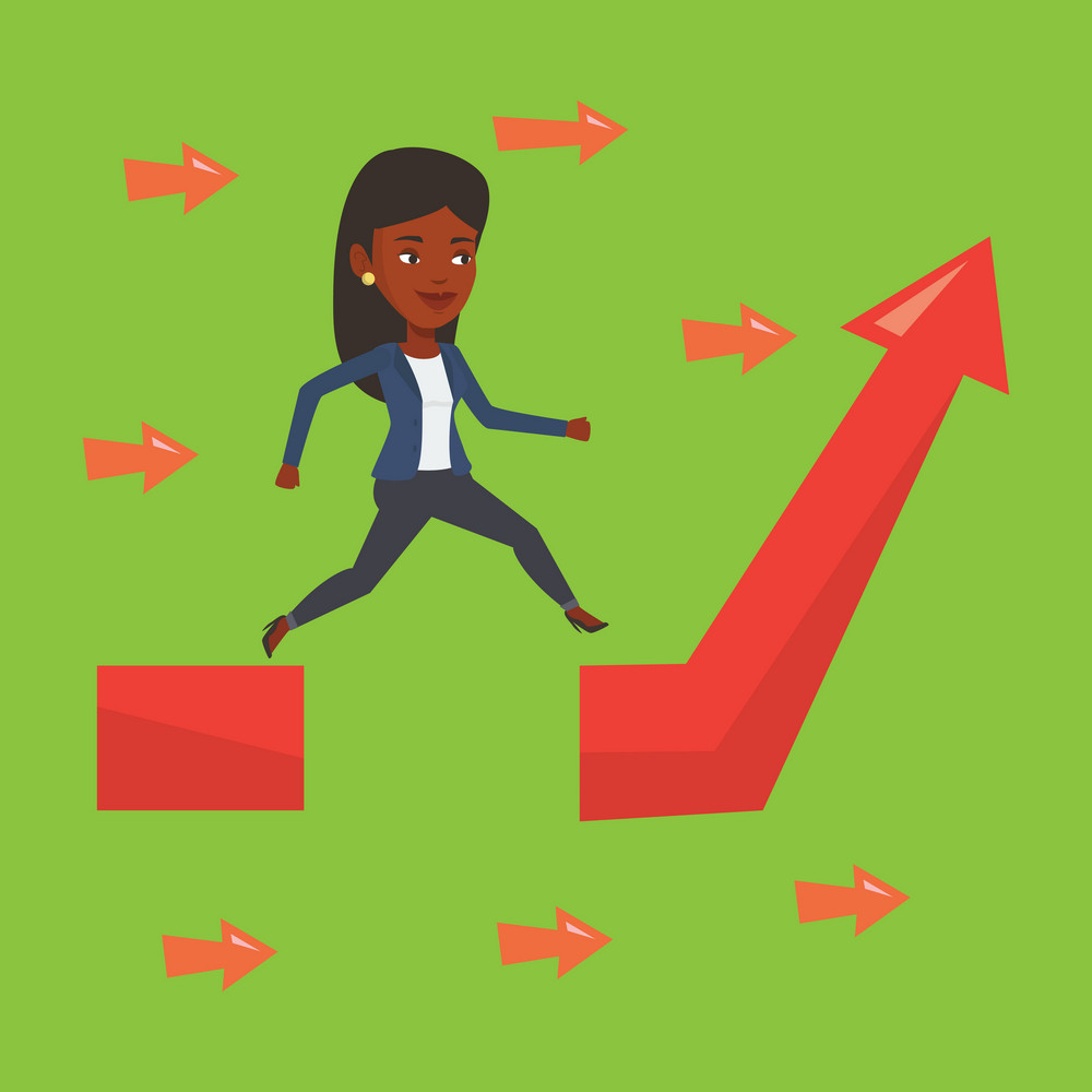 Businesswoman facing with business obstacle. An african-american businesswoman coping with business obstacle successfully. Business obstacle concept. Vector flat design illustration. Square layout.
