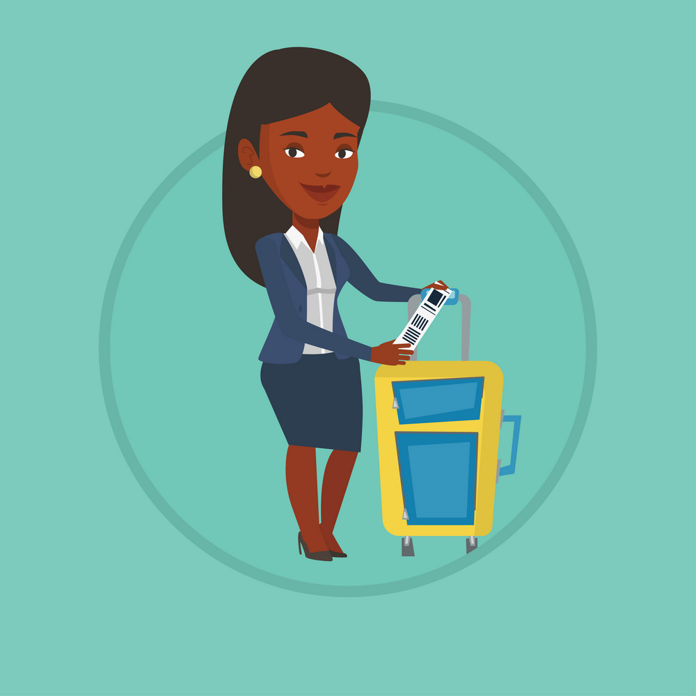 Businesswoman holding travel insurance tag. Passenger standing near suitcase with priority luggage tag. Woman showing luggage tag. Vector flat design illustration in the circle isolated on background.