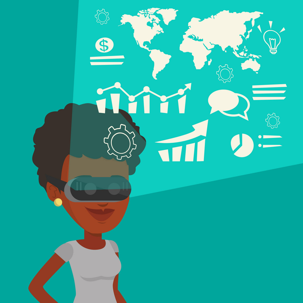Businesswoman in virtual reality headset looking at the digital display with business graphs. Woman in virtual reality headset analyzing visual data. Vector flat design illustration. Square layout.