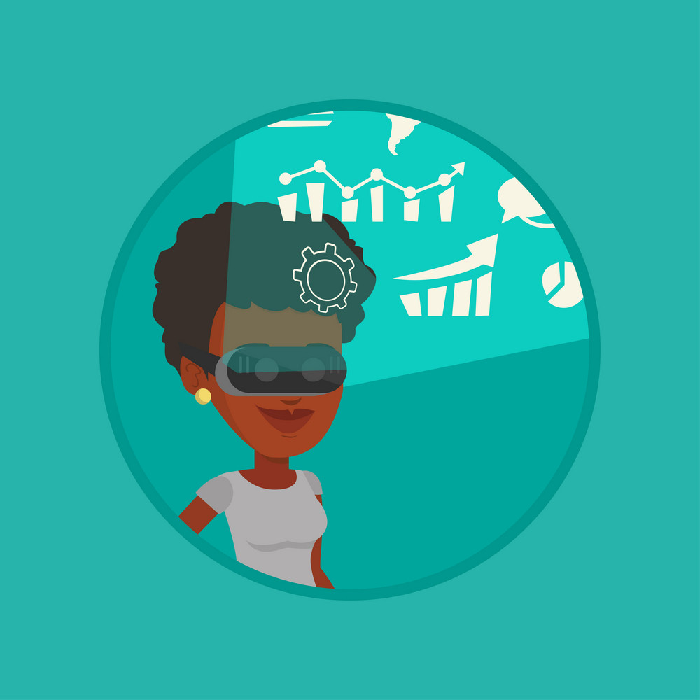 Businesswoman in vr headset looking at digital display with business graphs. Woman in virtual reality headset analyzing visual data Vector flat design illustration in the circle isolated on background