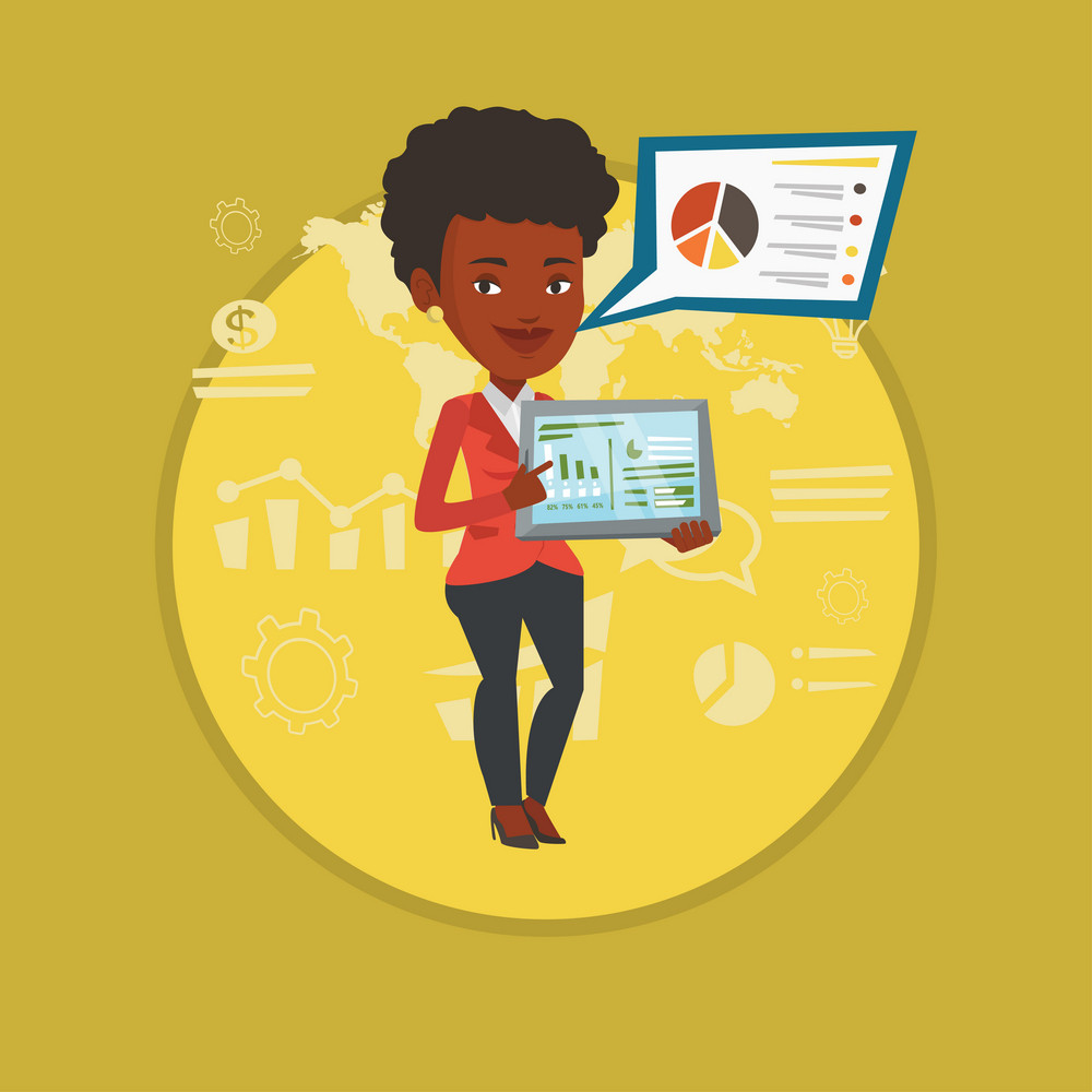 Businesswoman pointing at the charts on tablet screen. Businesswoman presenting report on tablet on the background of graphs. Vector flat design illustration in the circle isolated on background.