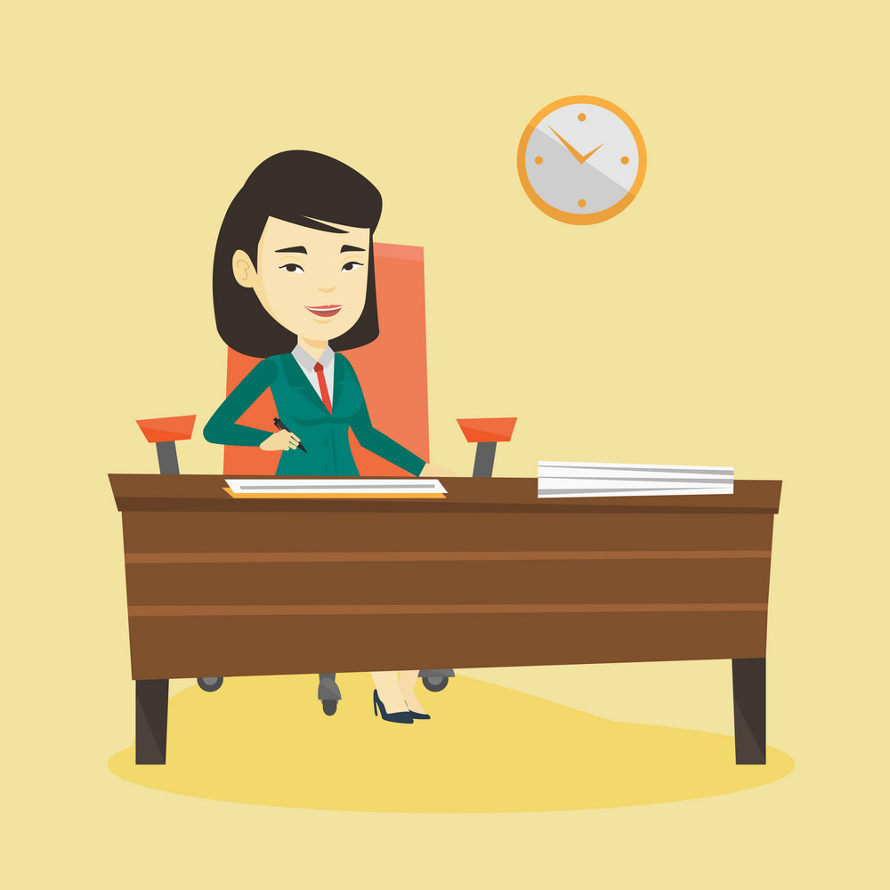 Businesswoman signing business documents. Woman is about to sign a business agreement. Confirmation of transaction by signing of business contract. Vector flat design illustration. Square layout.