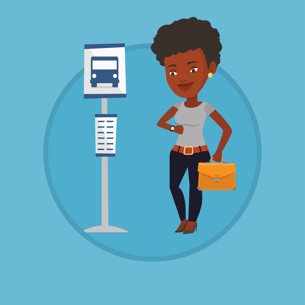 Businesswoman waiting at the bus stop. Young businesswoman standing at the bus stop. Woman looking at her watch at the bus stop. Vector flat design illustration in the circle isolated on background.