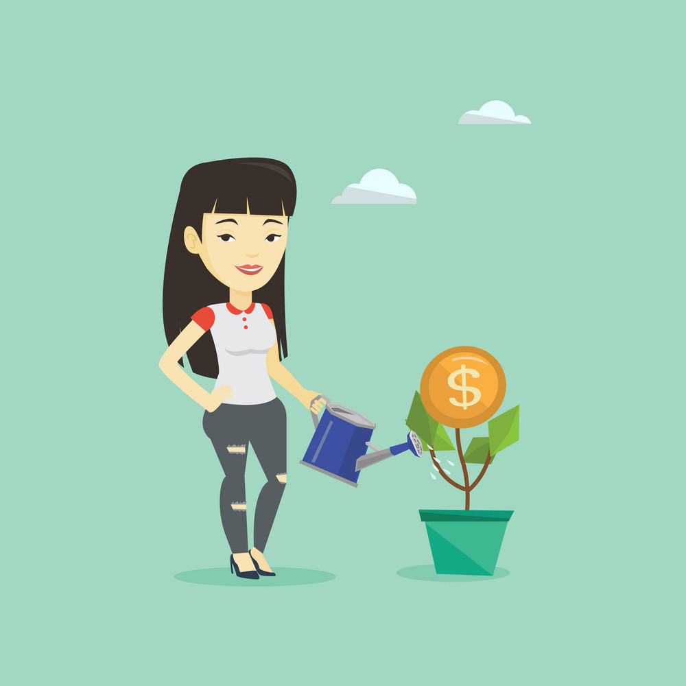 Businesswoman watering money flower. Asian businesswoman investing in business project. Illustration of investment money in business. Investment concept. Vector flat design illustration. Square layout
