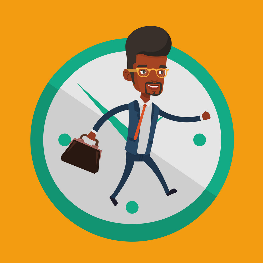 Busy african-american businessman running on the background with clock. Busy businessman in a hurry. Concept of deadline and busy time. Vector flat design illustration. Square layout.