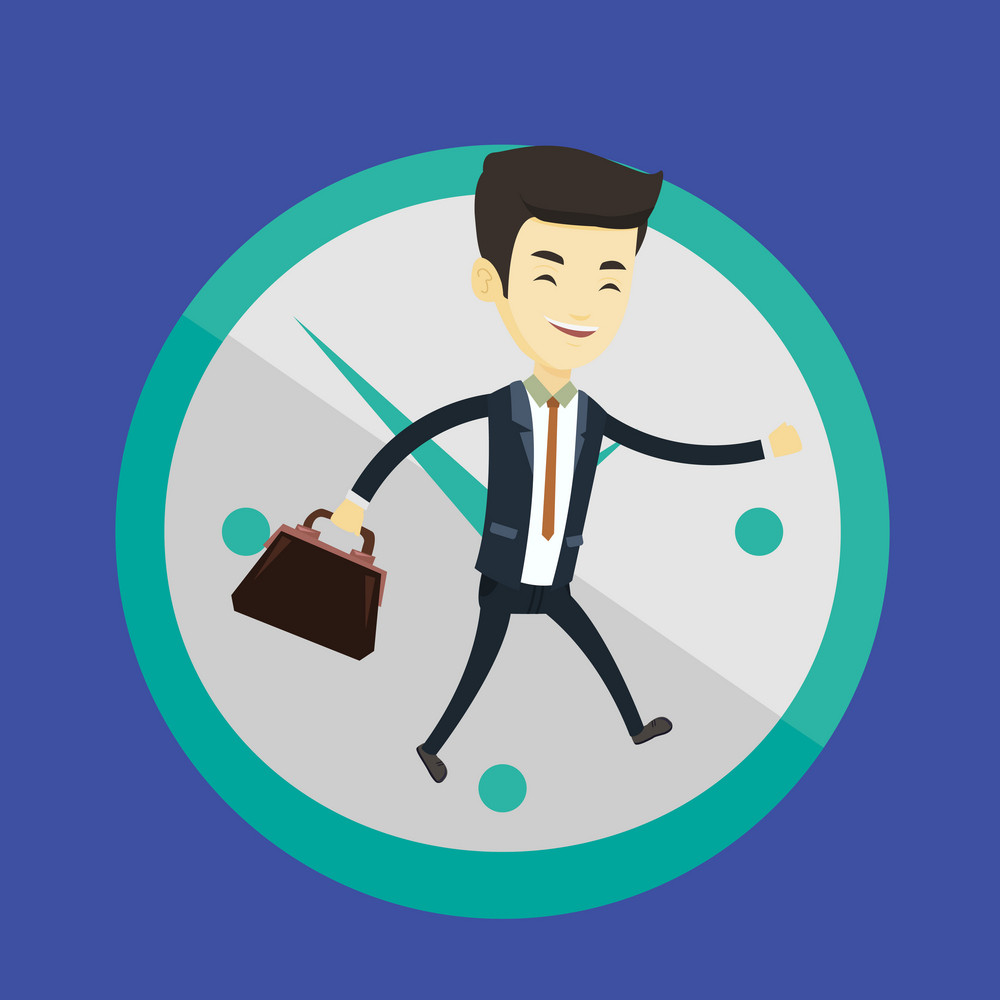 Busy asian business man running on the background with clock. Young busy business man running in a hurry. Concept of deadline and busy time. Vector flat design illustration. Square layout.