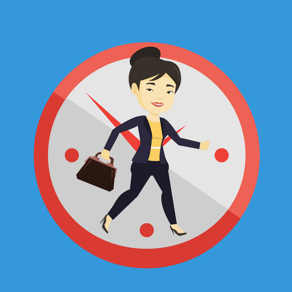 Busy asian business woman running on the background with clock. Young busy business woman running in a hurry. Concept of deadline and busy time. Vector flat design illustration. Square layout.