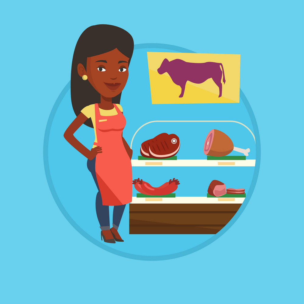 Butcher offering meat in butchery. Butcher at work at the counter in butchery. Butcher standing on the background of storefront. Vector flat design illustration in the circle isolated on background.