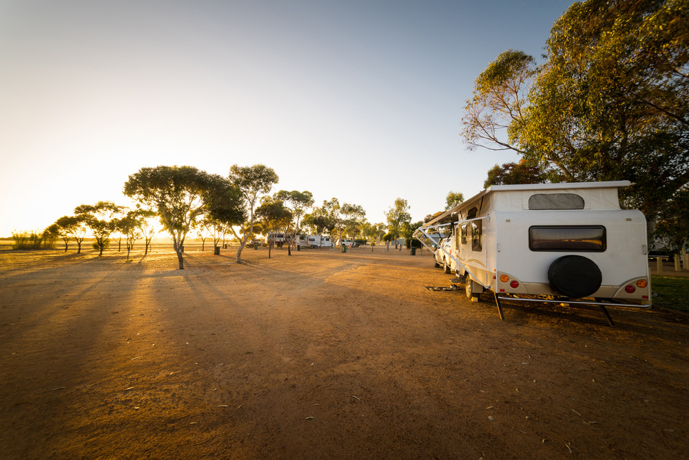 Campsite with caravans in a morning light in the Hyden ,Western Australia.