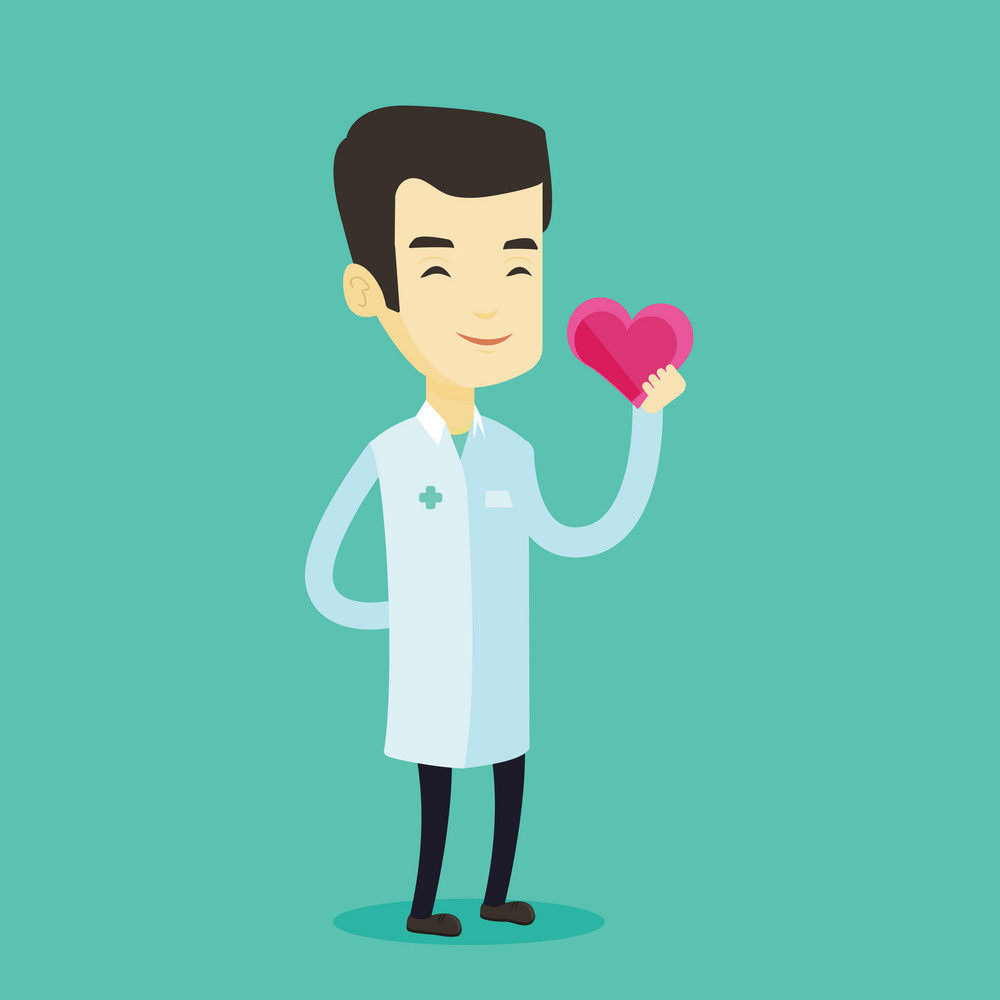 Cardiologist in medical doctor uniform with heart in hand. Doctor cardiologist holding heart. Concept of healthcare and prevention of heart problems. Vector flat design illustration. Square layout.