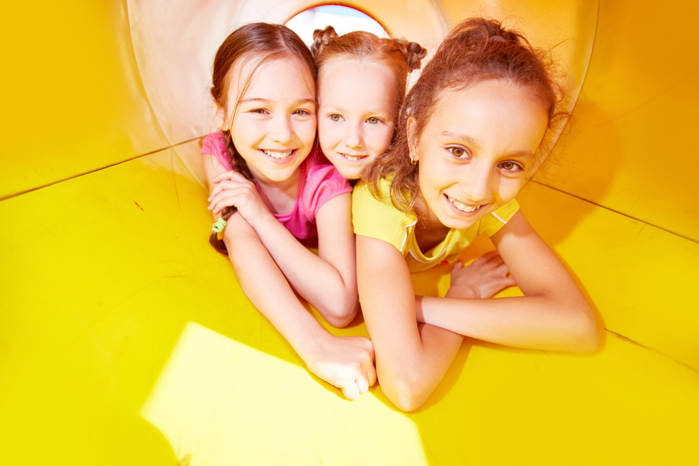 Carefree girls having fun at leisure