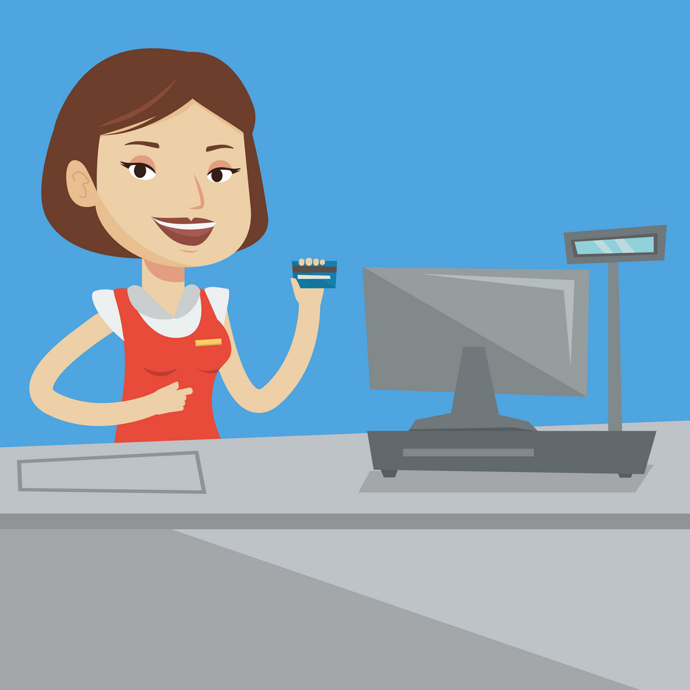 Cashier holding credit card at the checkout in supermarket. Happy cashier working at checkout in a supermarket. Cashier standing near the cash register. Vector flat design illustration. Square layout.