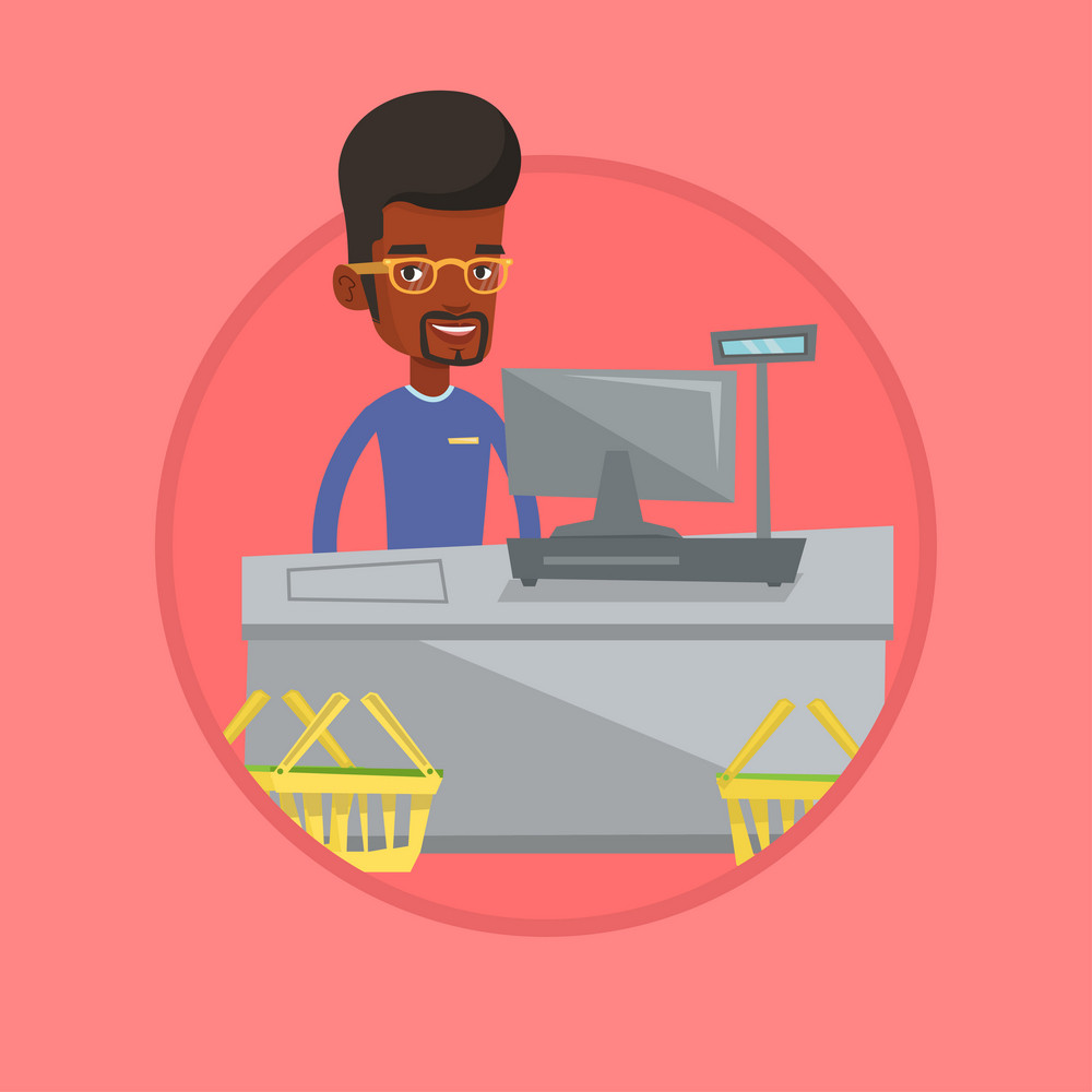 Cashier standing at the checkout in supermarket. Cashier working at checkout in a supermarket. Cashier standing near the cash register. Vector flat design illustration in circle isolated on background