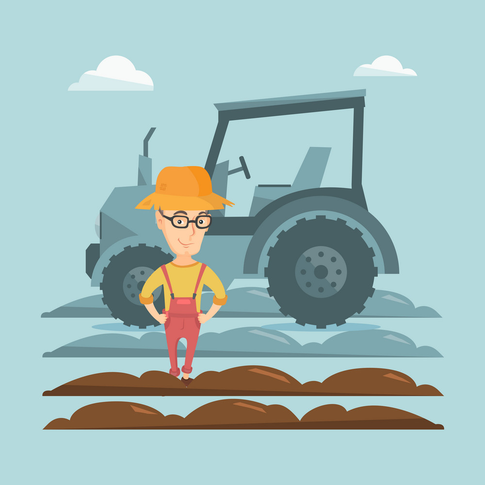 Caucasain happy farmer in summer hat standing on the background of tractor preparing land. Young smiling farmer standing in field in front of tractor. Vector flat design illustration. Square layout.