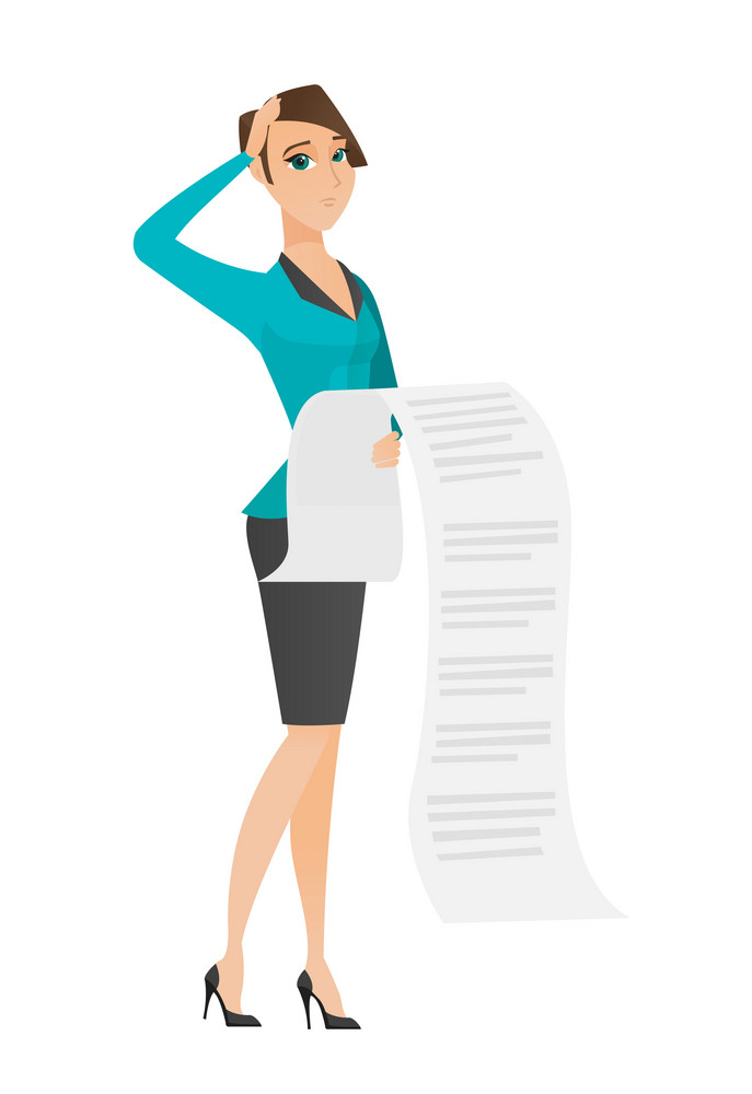 Caucasian accountant standing with long bill in hands. Anxious accountant holding long bill. Young worried accountant looking at long bill. Vector flat design illustration isolated on white background