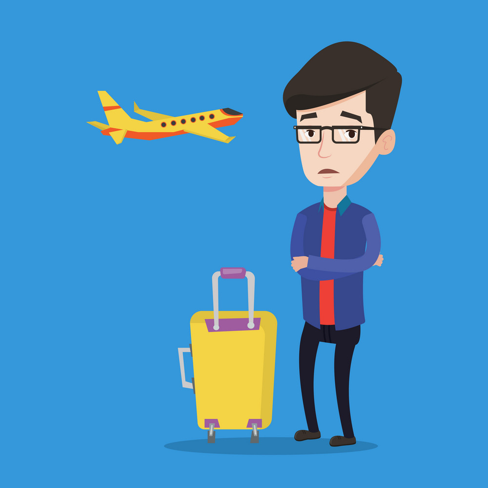 Caucasian airplane passenger frightened by future flight. Young man suffering from fear of flying. Terrified passenger with suitcase waiting for a flight. Vector flat design illustration Square layout