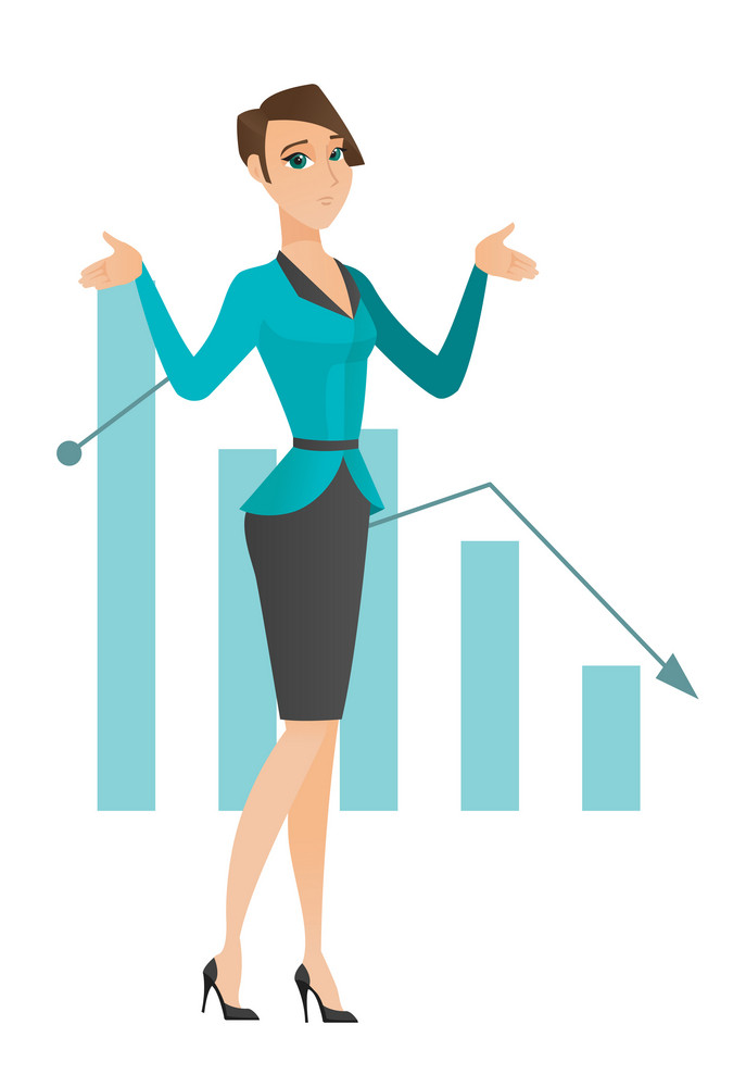 Caucasian bancrupt standing on the background of decreasing chart. Bancrupt business woman with spread arms. Business bankruptcy concept. Vector flat design illustration isolated on white background