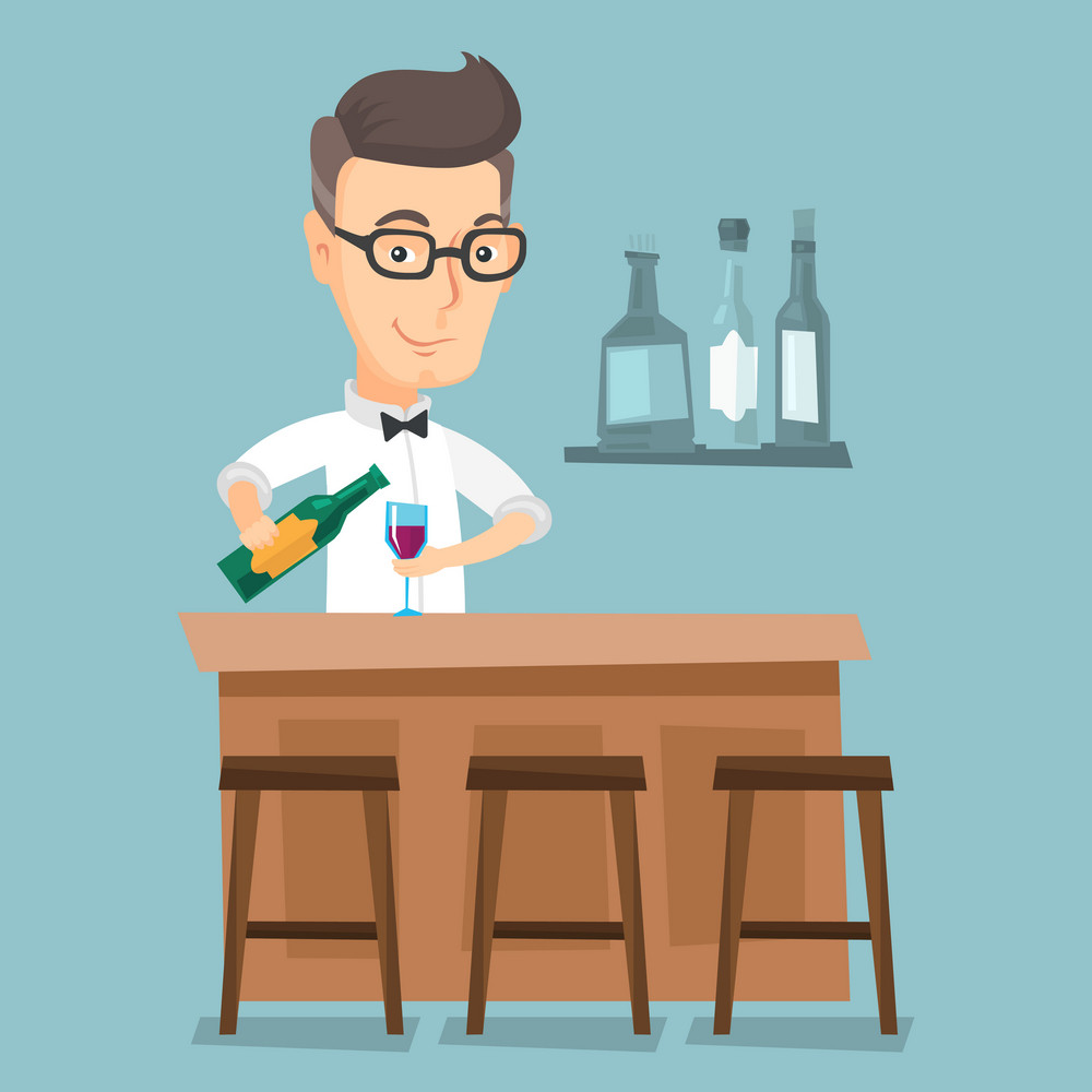Caucasian bartender at work. Adult bartender standing at the bar counter. Bartender with bottle and glass in hands. Bartender pouring wine in a glass. Vector flat design illustration. Square layout.