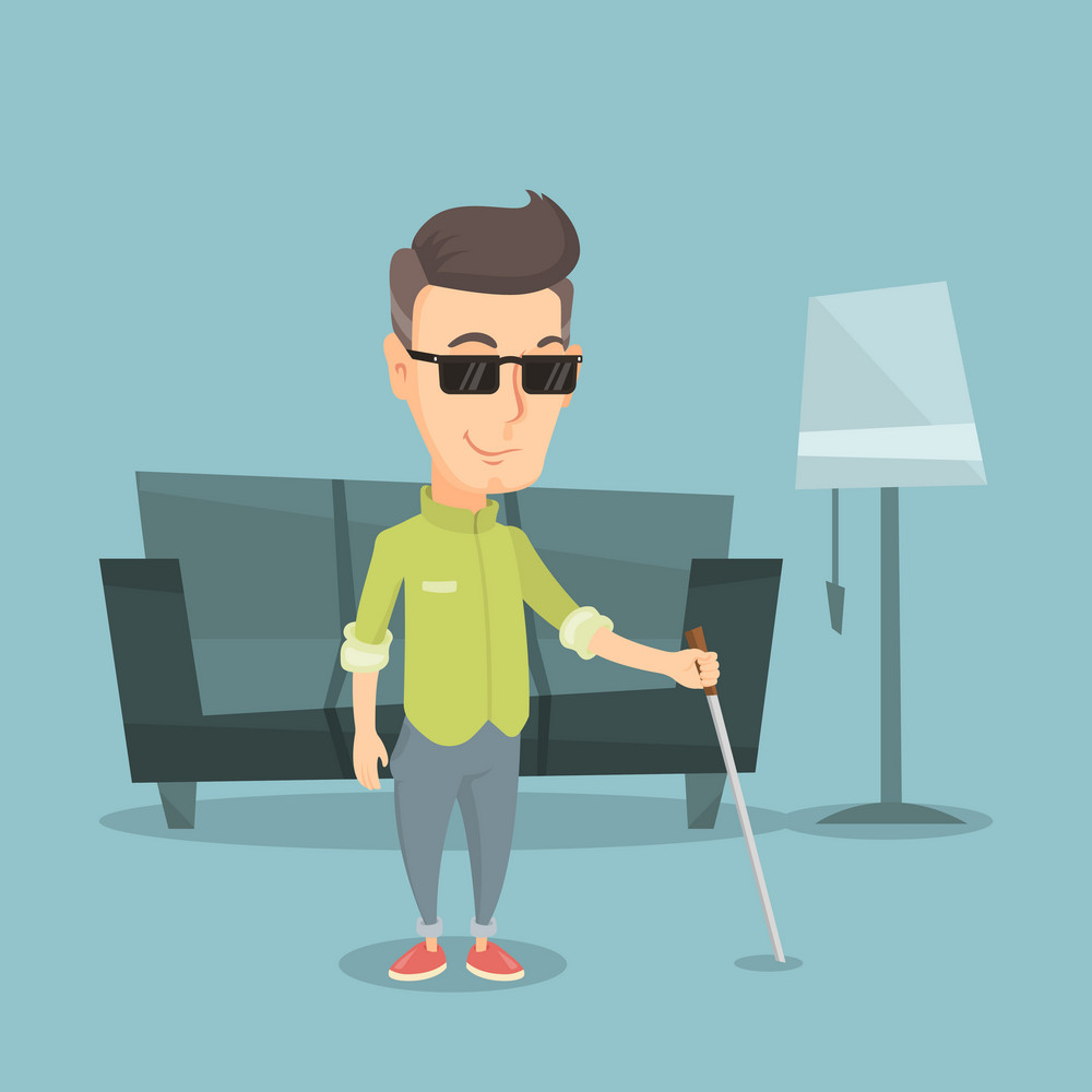 Caucasian blind man standing with walking stick at home. Smiling blind man in dark glasses standing with cane at home. Blind man walking with stick. Vector flat design illustration. Square layout.
