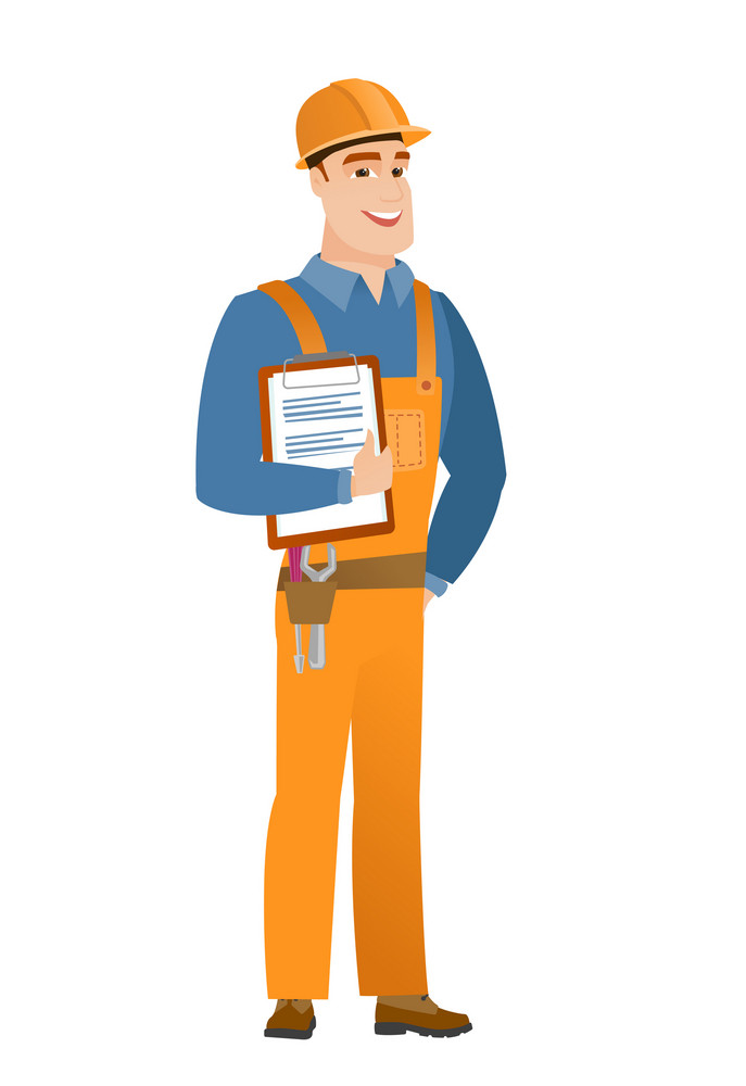 Caucasian builder holding clipboard with papers. Full length of young builder with papers. Young smiling builder holding papers. Vector flat design illustration isolated on white background.
