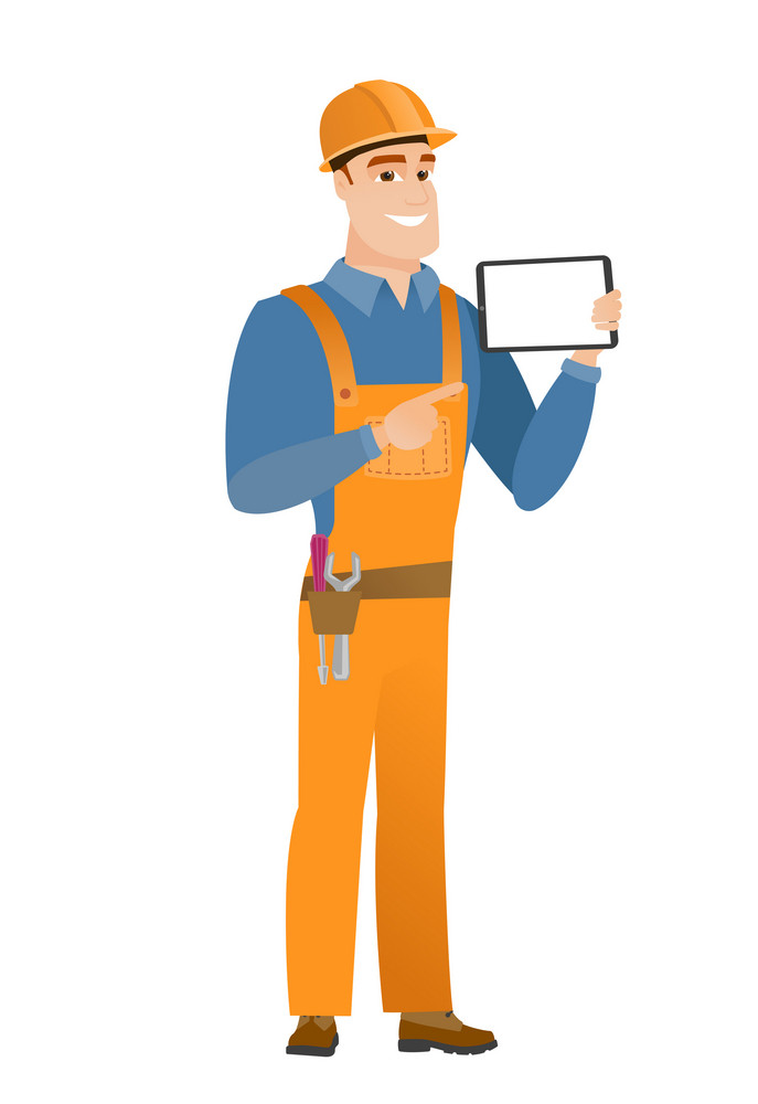 Caucasian builder holding tablet computer. Full length of happy builder pointing at tablet computer. Young builder with tablet computer. Vector flat design illustration isolated on white background.