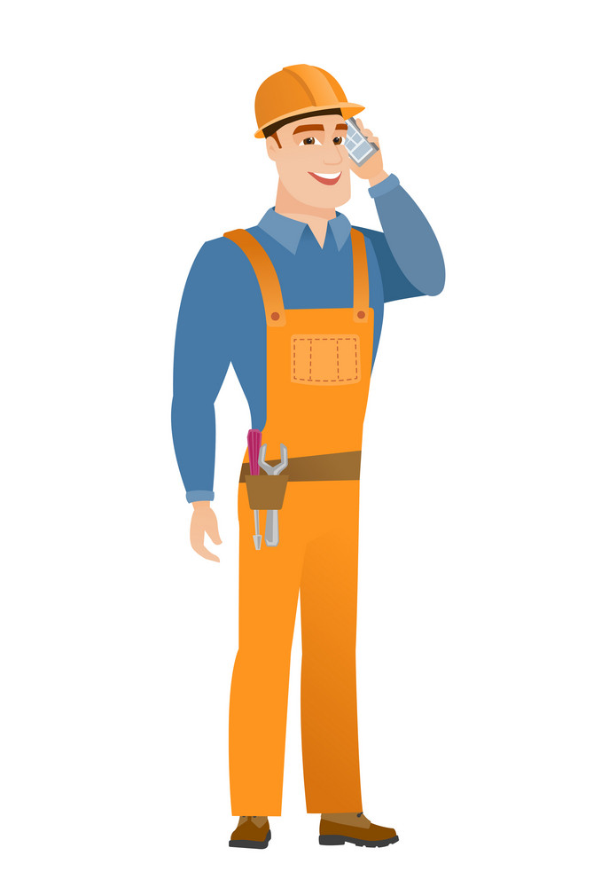 Caucasian builder in hard hat talking on a mobile phone. Young smiling builder talking on cell phone. Happy builder using cell phone. Vector flat design illustration isolated on white background.